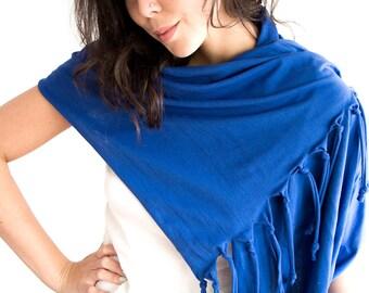 SALE Tassel Scarf Shawl in Blue