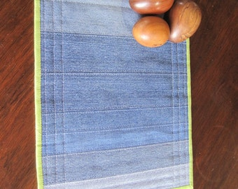 Reversible place mat for children, vintage denim and woodland friends. 10 inches by 12 inches.
