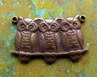 Brass Hootie Owl Trio Charm - Hand Antiqued