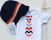 BABY BOY GIFT Set / Chevron Necktie appliqué on navy or white baby bodysuits......... Great baby shower gift