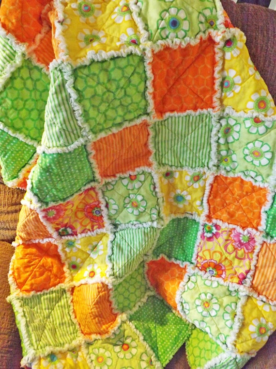 Rag Quilt - Girl Rag Quilt - Bright Orange Green and Yellow Cotton Fabrics - Lap Quilt