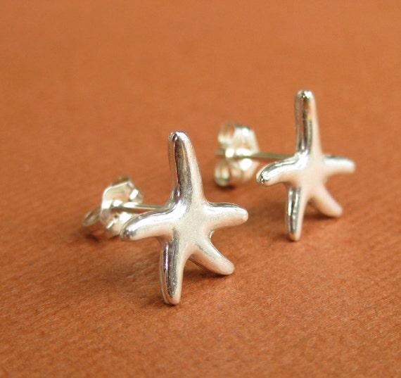 handmade silver starfish stud earrings fish by
