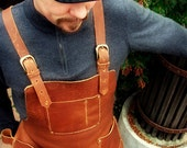 Leather Work Apron with Chest Pocket, Hip pockets, Brass Buckles and Hammer Loop