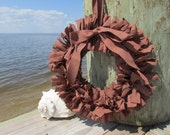 Barn Red Rag Wreath Micro Check Dunroven House Homespun fabric, Rustic Wreath, Valentines Day Wreath