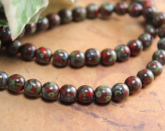 Red Czech Glass Bead Druk Picasso Opaque Round 6mm (25)
