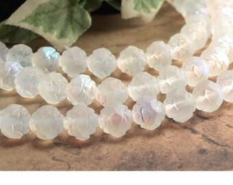 Matte Crystal AB Czech Glass Rosebud Beads Transparent Iridescent 7-8mm (25)
