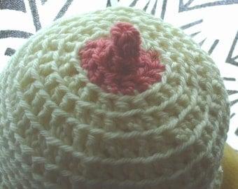 Made to order-NB-6mos. Nipple Beanie-Breastfeeding Joke Hat-Pink,Blue,Green-Babyshower Gift