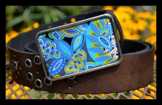 The Shirley  Belt - Bold Blue Graphic Buckle with Vintage Black Leather Grommet Belt