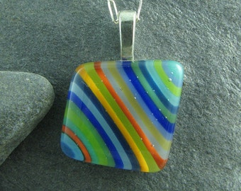 Colorful Angled Stripe Fused Glass Pendant