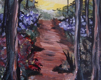 Original Acrylic ACEO Painting-  Along the Forest Path