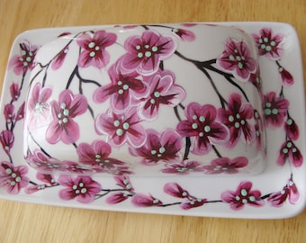 Cherry Blossoms Butter Dish Hand Painted
