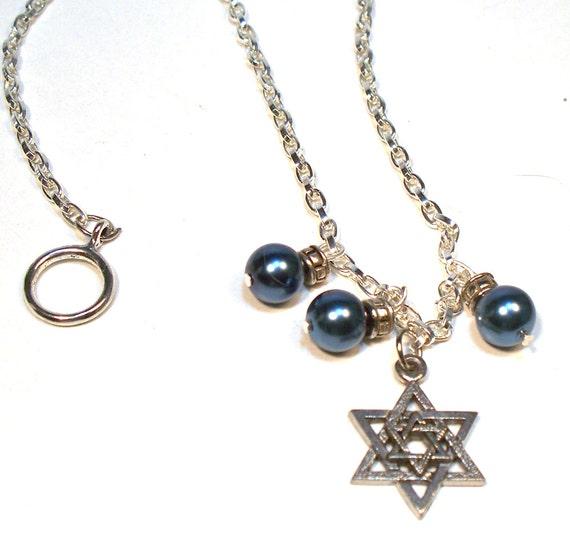 Jewish Star of David Blue Pearl Necklace