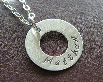 """Personalized Washer Necklace - Sterling Silver Hand Stamped 3/4"""" Washer Necklace"""