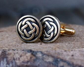 Cufflinks - Cuff Links - Gold Celtic Knot