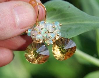 Opal Earrings Gold - Ethiopian Opal - Opal Earrings - Honey Quartz Briolette