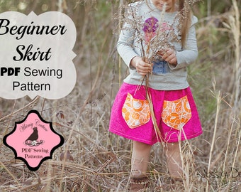 Girls Skirt Pattern Tutorial Templateless  sizes 3m - 16 girls with pockets PDF Instant