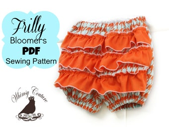 Bloomers Pattern with ruffles nb- size 6 PDF Serger Version Instant