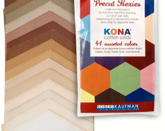 SQ36 Robert Kaufman Hexie Cuts Kona Cotton Solids Neutrals Fabric Quilting Hexagons HC-106-41