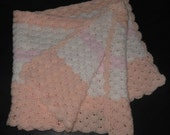 Cozy Crocheted Baby or Toddler Cuddle Blanket, Soft Peach, White & Princess Pink, Ready To SHIP FOR FREE