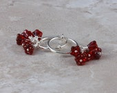 Clip hoop earrings Valentine Red baby bell flower clusters by EarthsOpulence
