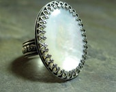 Mother of Pearl Ring, shell ring, white ring, filigree bezel, Sterling Silver, statement ring, cocktail ring - Captured Moonlight