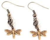 Steampunk Antiqued Brass Earrings with Clockwork Dragonfly Charms by Velvet Mechanism