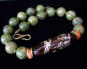 Old Agate w Dragon Unakite Necklace, Big Bold Green Orange Coral, Strength Protection, Tribal Bohemian Unique Perfect gifts Pink Owl Jewelry