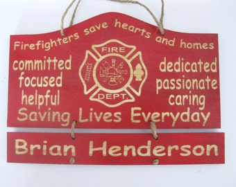 Personalized Wooden Firefighter Wooden Wall Hanging