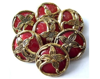 6 Vintage flowers buttons gold color flower Art Nouveau  style on dark red color plastic 15mm