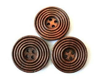 6 Wood  buttons retro vintage style new buttons 30mm