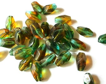10 VINTAGE glass beads, unique assorted colors faceted 15mmX9mm