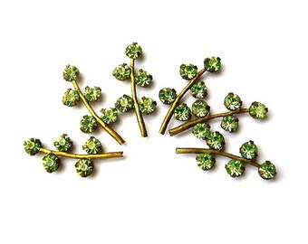 6 Vintage Swarovski leaves shape metal setting with light green crystal rhinestones-RARE