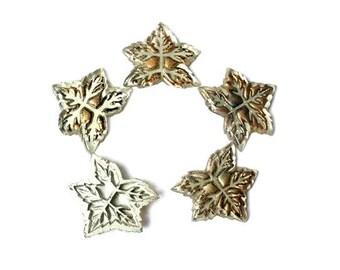 6 leaf shape vintage bronze color on silver glass ornaments, Czech