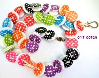 Necklace button jewelry made of resin plastic buttons assorted colors with white dots 18mm