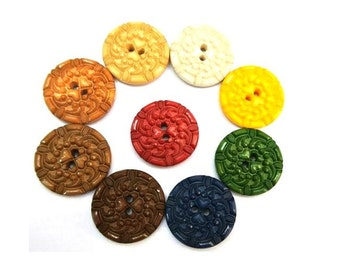 9 Vintage plastic buttons, 9 colors, 28mm, UNIQUE