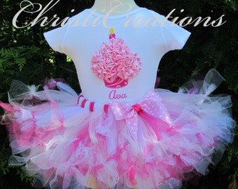 Baby Girl 1st Birthday Petti Tutu Set--Birthday Outfit--3D Cupcake--Photo Prop
