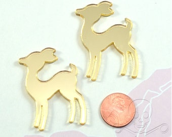 GOLD MIRROR DEER - Set of 2 Cabochons in Laser Cut Acrylic