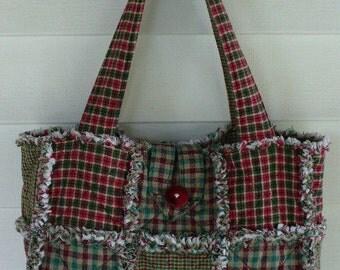 Ashlawnfarms HOMESPUN Rag Quilt Purse Custom made for You Long Strap length