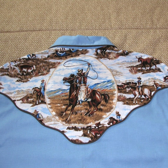Men's OOAK Blue Western Shirt Piping Pearl Snaps Size Large