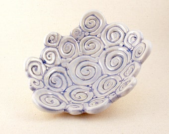Ceramic Cloud Dish, Pale Blue Spiral Cloud Trinket Dish