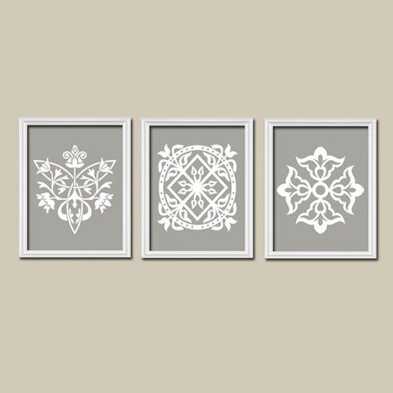 Bathroom Art Grey: Grey Gray White Ornament Design Artwork Set Of 3 Trio By