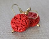 Red Carved Cinnabar Earrings, Gold Glass Beads, Antiqued Brass Earrings