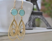 Aqua and Gold Earrings, Teardrop Pendant Earrings, Matte Gold, French Hooks, Synthetic Framed Gemstone, Bridesmaid Jewelry