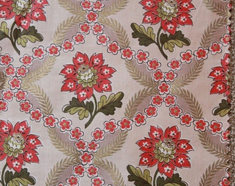 vintage 50s cotton fabric - set of 2 Waverly fabric samples - Mt Vernon and Franklin Court