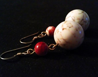 White Howlite and Fire Crackle Agate Earrings