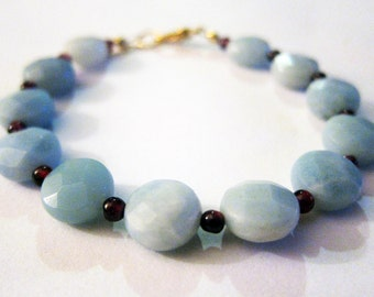 Amazonite and Garnet Beaded Gemstone Bracelet