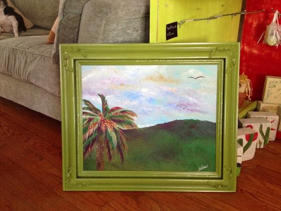 Original bird hill palm tree birds rolling sky blue pink yellow canvas board acrylic 20 in. x 16 in.