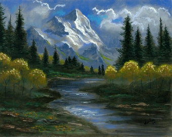 Mountain Stream - 11x14 Acrylic Painting