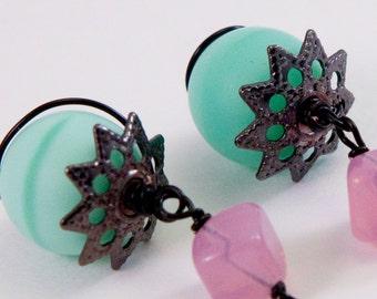 Green Bliss Earrings, Glass beads, Floral accents, OOAK, Free Shipping, Laura Mae Jewelry