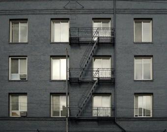 Architecture photograph San Francisco city urban modern wall art for men silver charcoal gray black - Graphite